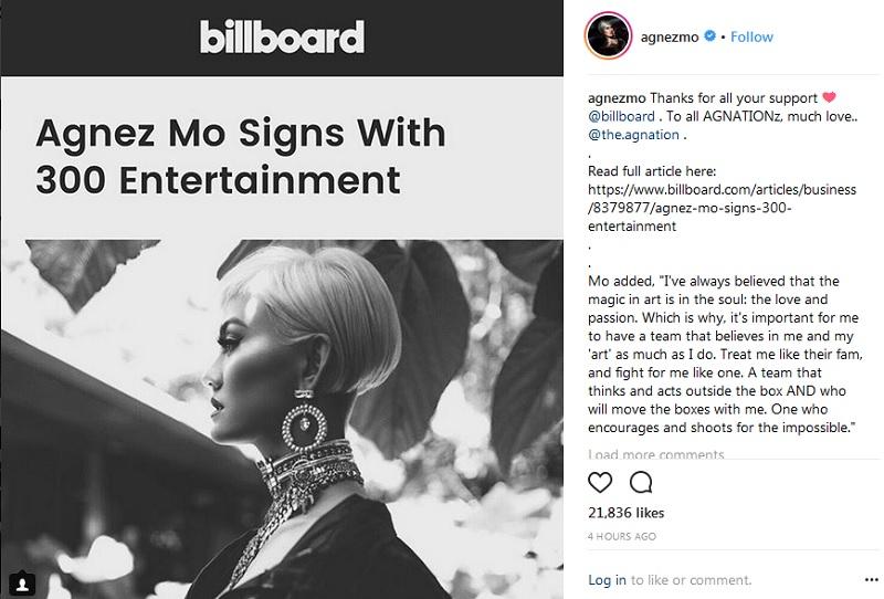Agnez Mo menandatangani kontrak dengan 300 Entertainment
