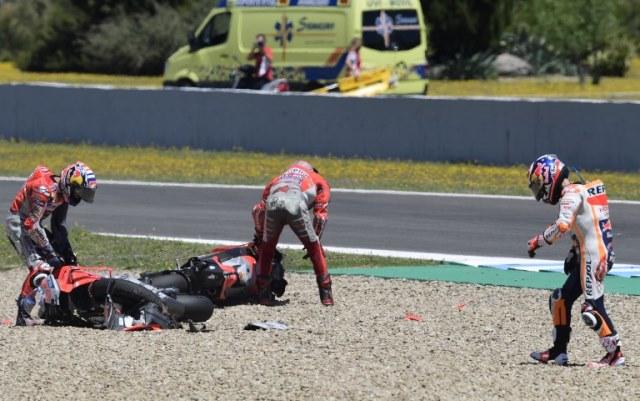 Dani Pedrosa, Jorge Lorenzo, dan Andrea Dovizioso (Foto: AFP)
