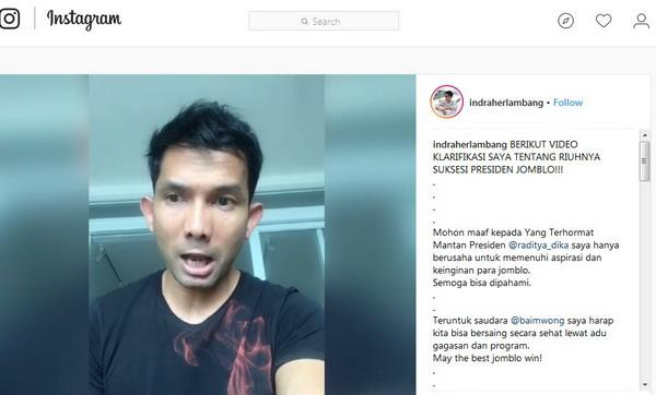 Video protes Indra Herlambang terkait Presiden Jomblo