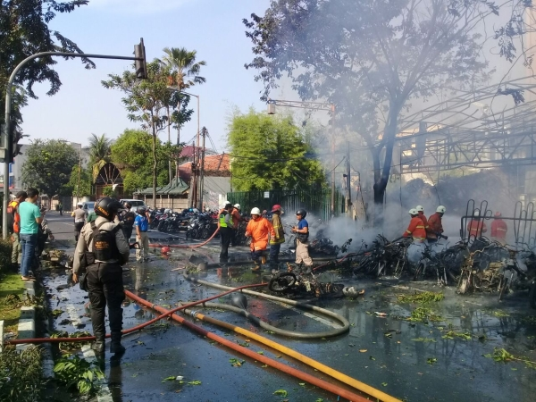 Ledakan gereja di Surabaya. Foto: Syaiful/Okezone