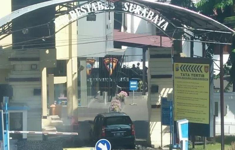 Kondisi Mapolrestabes Surabaya usai bom pada Senin (14/5/2018)