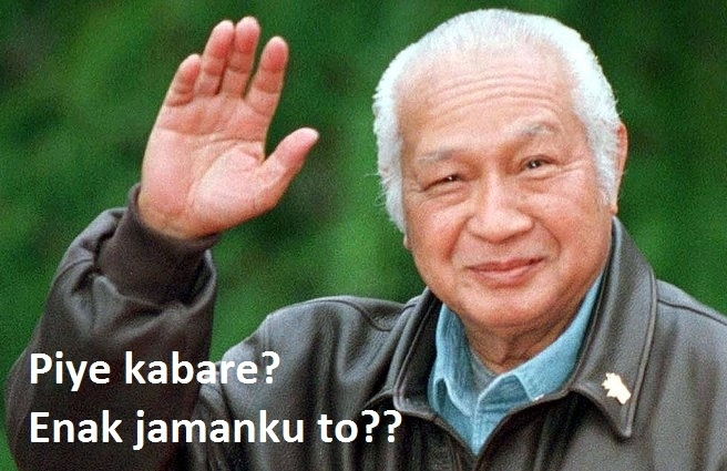 Meme enak zaman ku toh dengan wajah Soeharto banyak menghiasi media sosial. Foto: Ist
