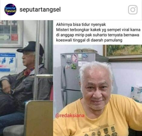 Pria mirip Pak Harto viral. Foto: Ist