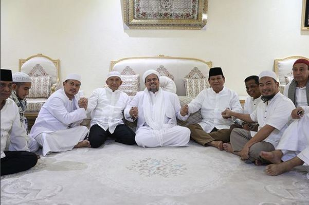 Prabowo-Amien Rais bertemu Habib Rizieq. Foto: @Amienraisofficial