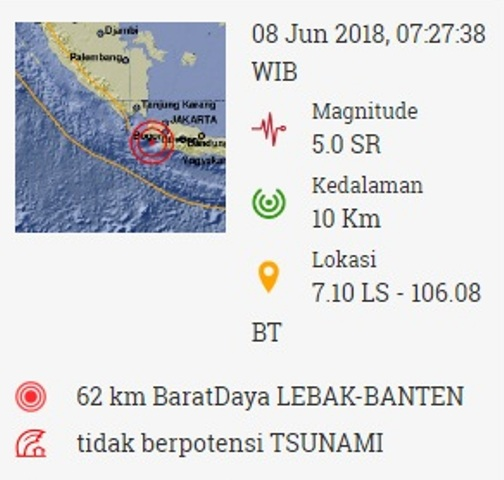 Gempa 5,0 SR di Lebak Banten. (Foto: BMKG)