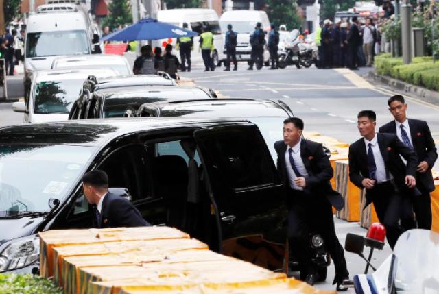Kim Jong-un tiba di Singapura.