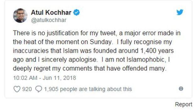 Cuitan Koki terkenal asal India, Atul Kocchar Menanggapi Aktris India Priyanka Chopra (Twitter)