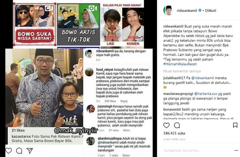 Instagram Ridwan Kamil soal Bowo Tik Tok (foto: Instagram/@ridwankamil)