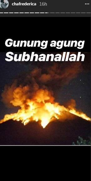 Chacha Frederica soal erupsi Gunung Agung