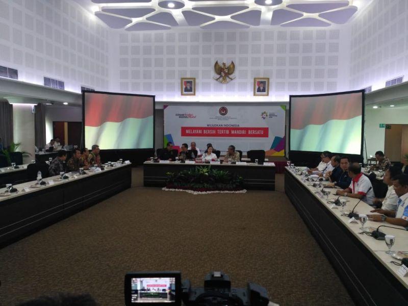Menko PMK Puan Maharani Pimpin Rapat Persiapan Pelaksanaan Asian Games 2018 (foto: Fahreza/Okezone)
