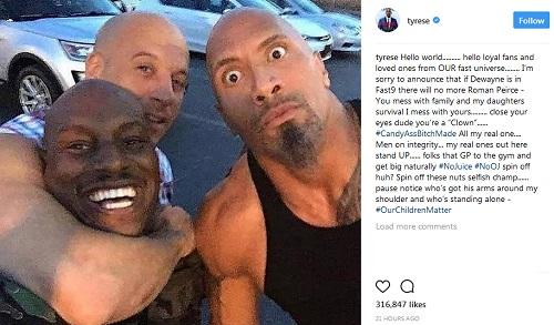 Tyrese Gibson, Vin Diesel, Dwayne Johnson