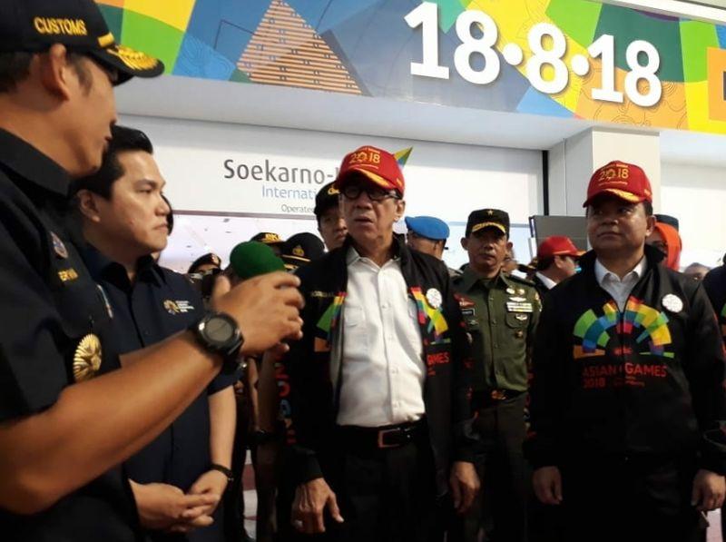 Ketua INASGOC dan Menkumham Cek Kesiapan Bandara Soetta (foto: Anggun T/Okezone)