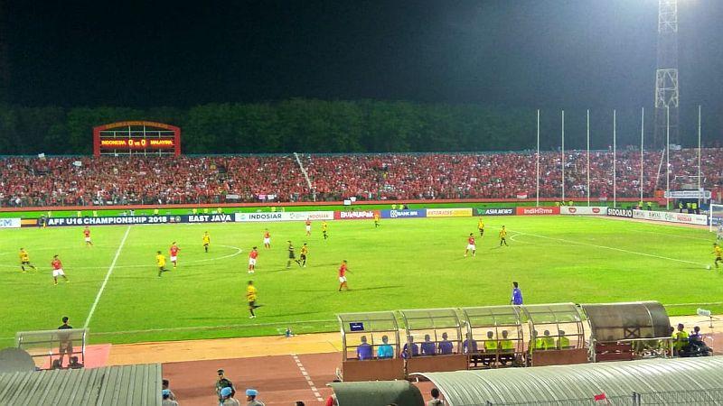 Timnas Indonesia U-16 vs Malaysia (Foto: Okezone/Avirista Midaada)