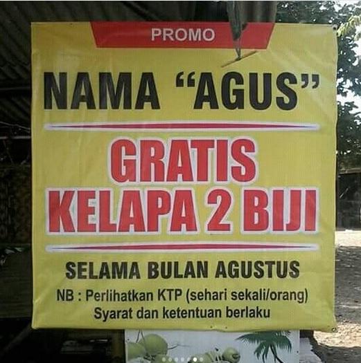 kelapa gratis bagi yang bernama Agus