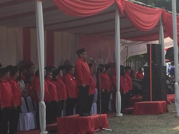 Upacara HUT Ke-37 RI di Kantor DPP, Lenteng Agung, Jaksel, Jumat (17/8/2018). (Foto: Harits Tryan Akhmad/Okezone)