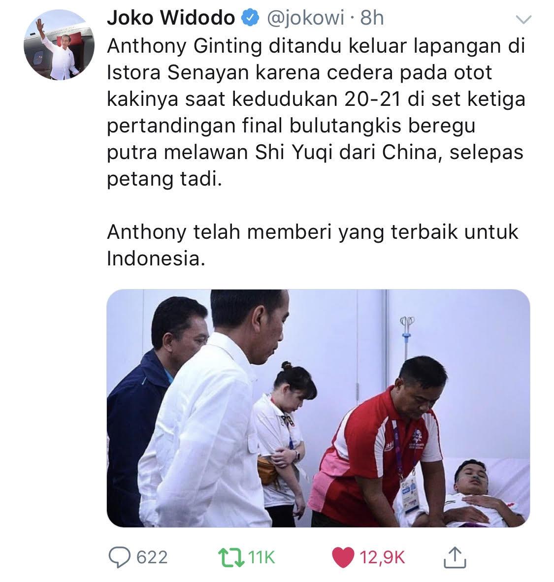 Tweet Jokowi soal Anthony Ginting