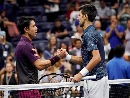 Kei Nishikori dan Novak Djokovic