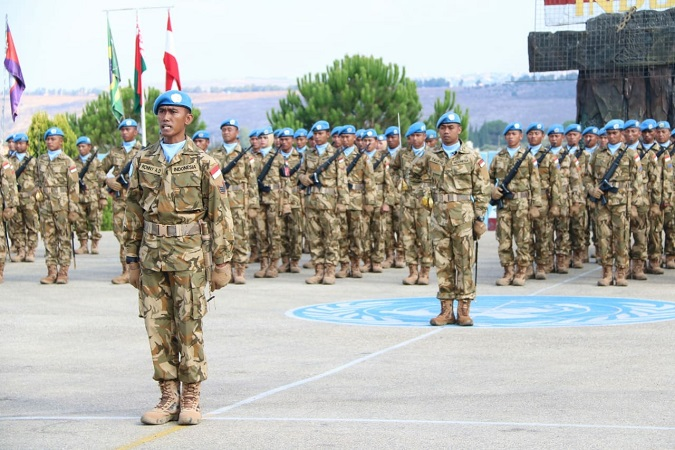 Pasukan Perdamaian Indobatt Gelar Upacara Peringatan HUT Ke-73 TNI AL di Lebanon (Puspen TNI)