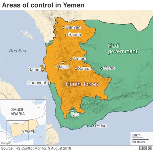Peta konflik di Yaman. (Foto: BBC)