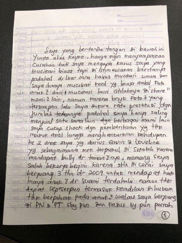 Surat Keyko dari Dalam Penjara (foto: Ist)
