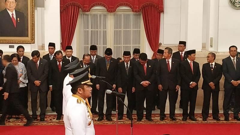 Pelantikan pasangan gubernur-wakil gubernur Sumsel dan Kaltim di Istana Negara. (Foto : Fakhrizal Fakhri/Okezone)