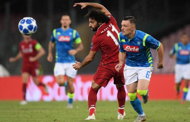 Laga Napoli vs Liverpool. Foto: Reuters