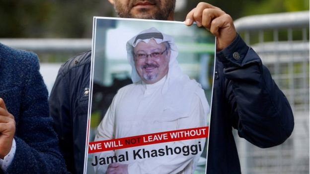 Demonstran menuntut kejelasan keberadaan Jamal Khasoggi