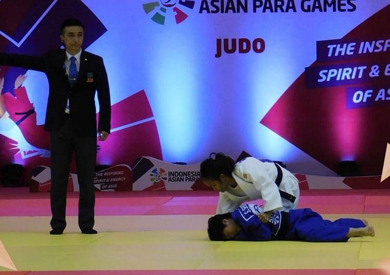 Pertandingan cabor judo di Asian Para Games 2018. (Foto: Twitter)