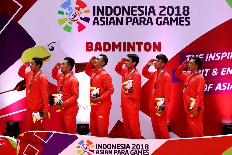 Tim Bulutangkis Indonesia di Asian Para Games 2018 (Foto: INAPGOC)
