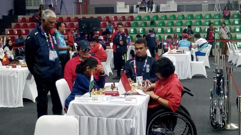 Kontingen Indonesia di cabor catur Asian Para Games 2018. Foto: Istimewa