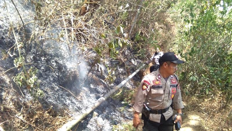 Polisi saat memadamkan api di kawasan Gunung Merbabu. (Foto : Taufik Budi)