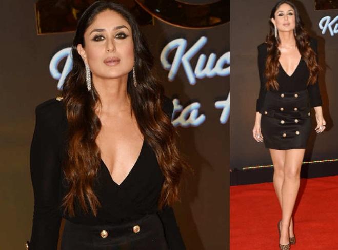 Untuk menampilkan kesan glamor, Kareena menata rambutnya dengan gaya glam waves dan memilih sepatu stilettos warna emas.