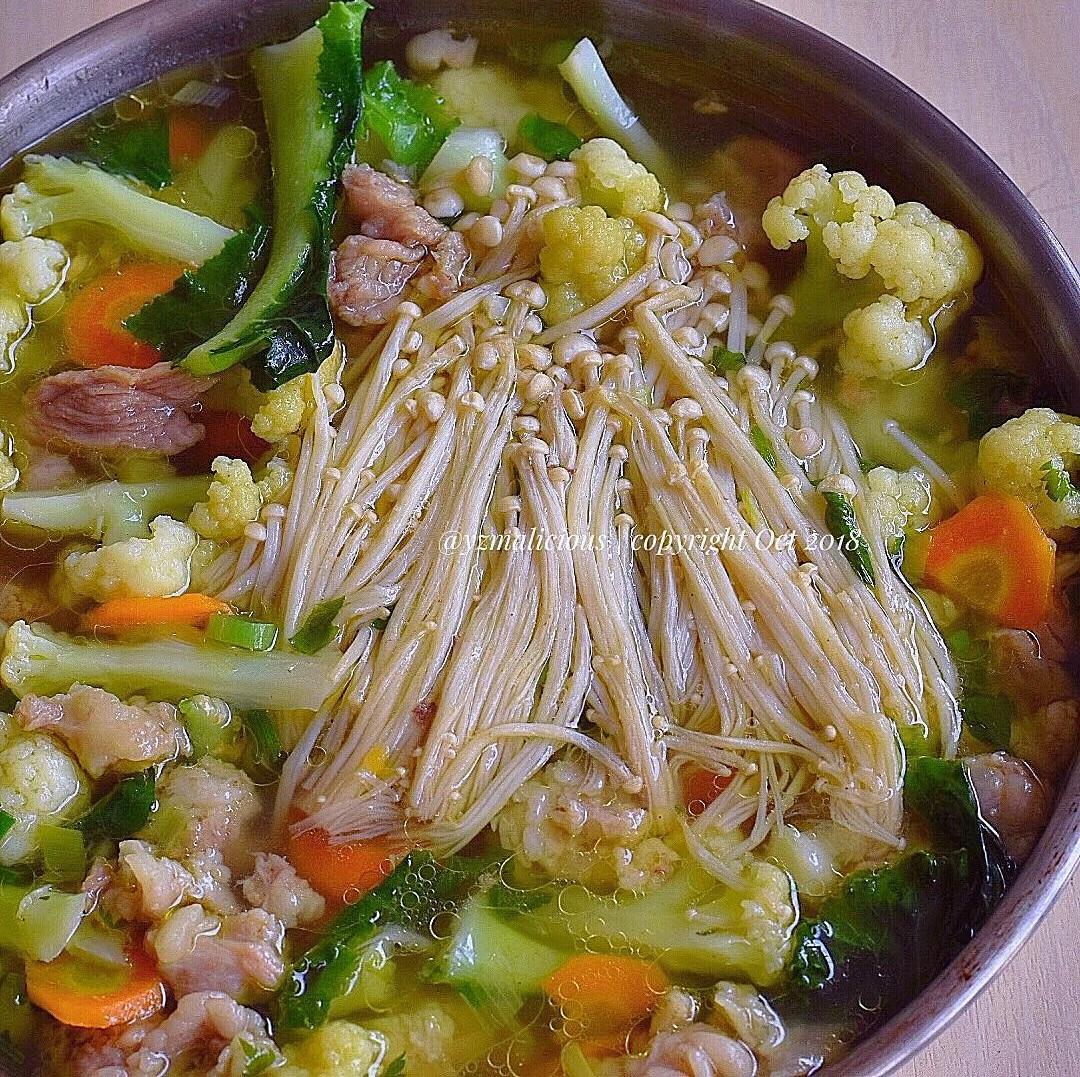 sup enoki kembang kol