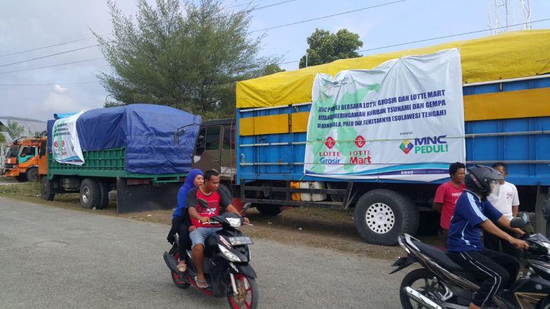 Lotte Mart dan Lotte Grosir Beri Bantuan untuk Korban Bencana Sulteng Melalui MNC Peduli (foto: Ist)