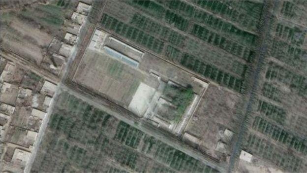 Kamp penahanan Uighur di Kota Tohtan, China.