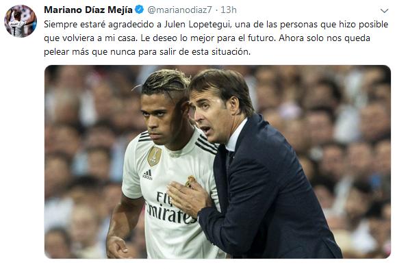 Mariano Diaz dan Julen Lopetegui (Foto: Twitter @marianodiaz7)
