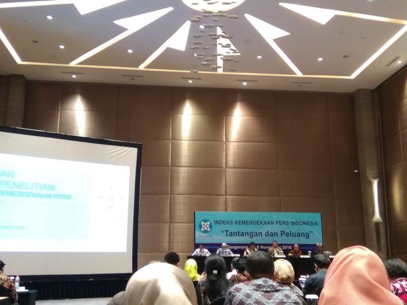 Diskusi Tentang Indeks Kemerdekaan Pers 2018 di Tangerang (foto: Anggun T/Okezone)