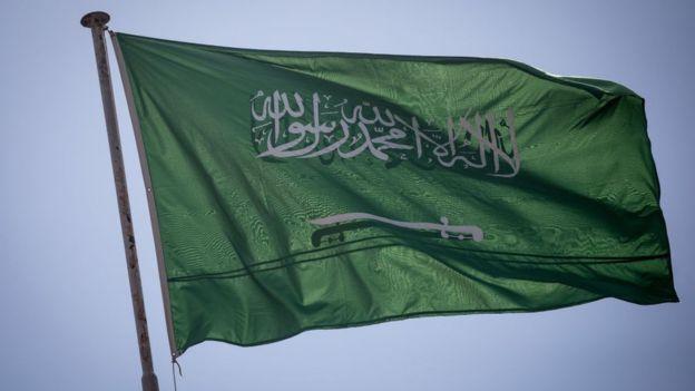 Arab Saudi juga menggunakan bendera bertulisan Laa ilaaha illallah, Muhammadurrasuulullah sebagai lambang resminya. (Getty Images)