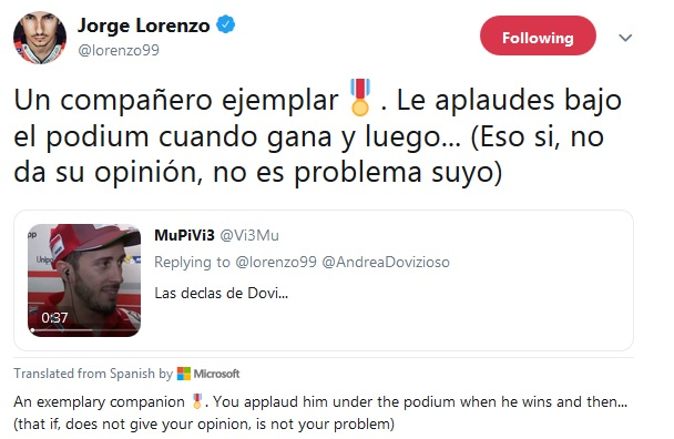 Twit Lorenzo soal Dovizioso