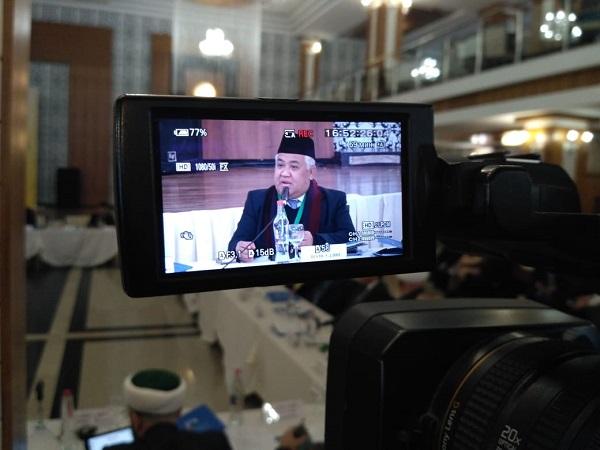 Din Syamsuddin pada pertemuan Rusia-Dunia Islam di Dagestan. (Ist)