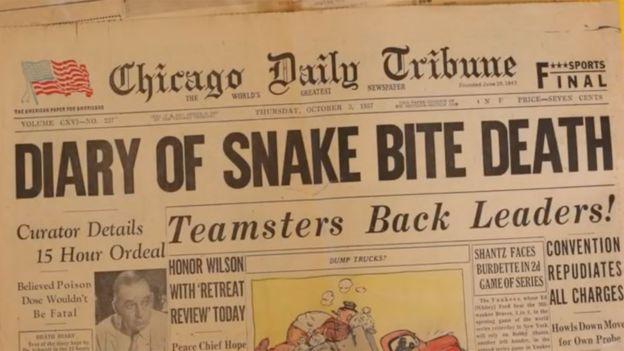 Kematian Schmidt menjadi berita utama koran The Chicago Daily Tribune terbitan 3 Oktober 1957. (Chicago Daily Tribune)