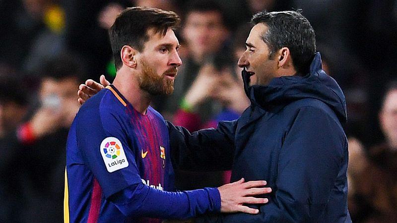 Lionel Messi dan Ernesto Valverde