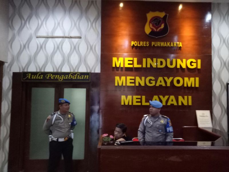 Pemeriksaan 5 Pejabat PJT II Jatiluhur di Aula Mapolres Purwakarta (foto: Mulyana/Okezone)