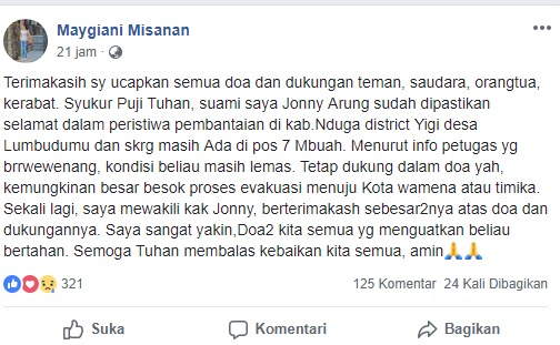 Keluarga Jonny mengungkapkan rasa terima kasih di media sosial