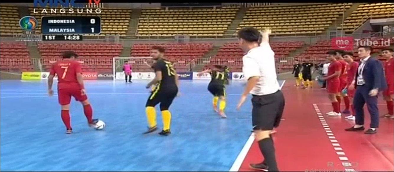 Timnas Futsal Indonesia U-20 vs Malaysia (Foto: MeTube)