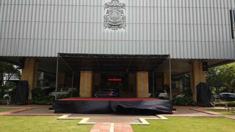 Panggung perayaan juara Persija Jakarta di Balai Kota