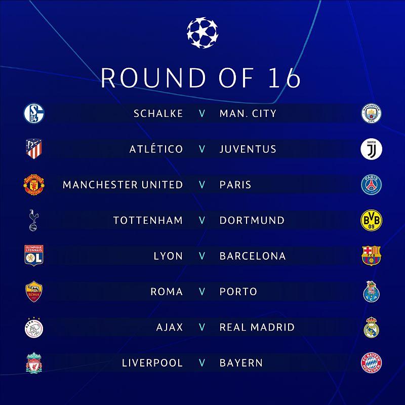 Hasil undian 16 besar Liga Champions 2018-2019