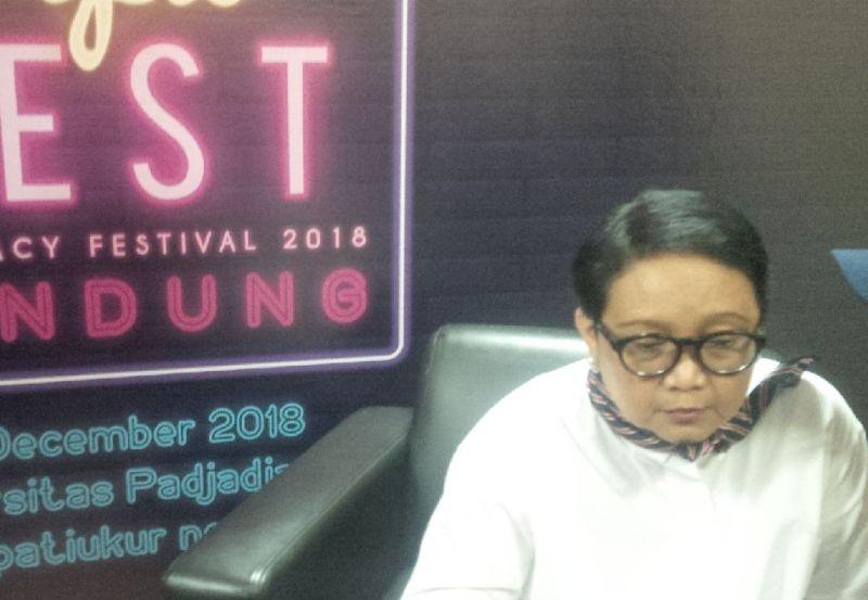 Menlu Retno Marsudi di Diplomacy Festival 2018 di Universitas Padjajaran, Bandung, Jawa Barat (foto: CDB Yudistira/Okezone)