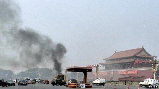 Serangan di Lapangan Tiananmen, Oktober 2013, juga dituduhkan pada separatis Uighur dari Xinjiang (foto: Reuters/BBC Indonesia)