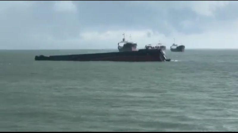 Kapal MV Amanda Berbendera Palau Tenggelam di Perairan OPL, Perbatasan Malaysia-Indonesia (foto: Ist)